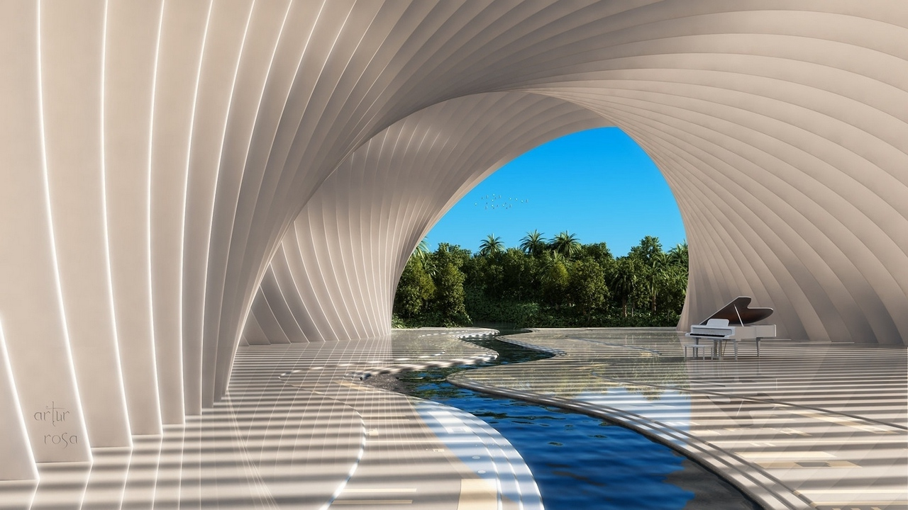 Preview wallpaper arch, art, musical instrument, piano, river, water