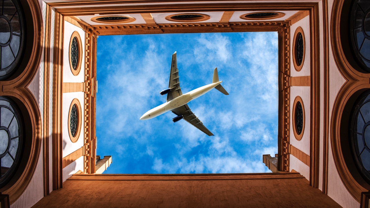Preview wallpaper architecture, bottom view, building, plane, sky
