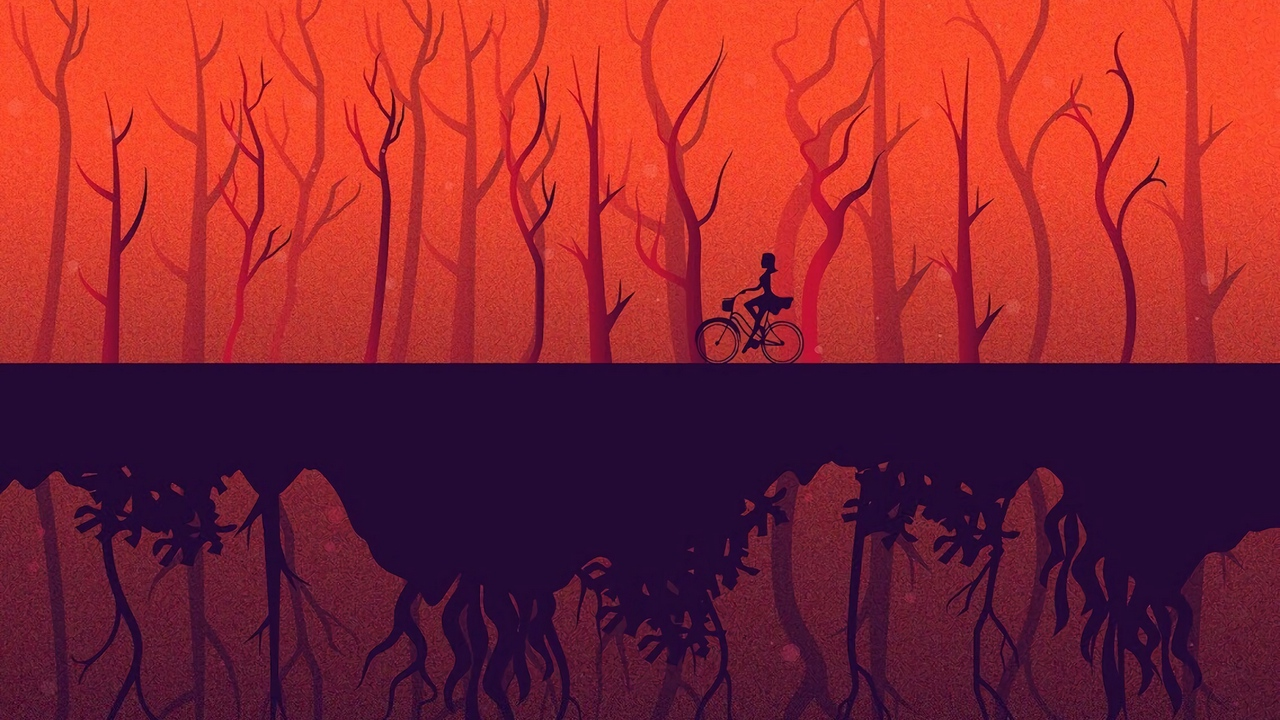 Preview wallpaper art, bicycle, girl, reflection, trees