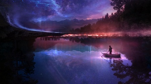 Preview wallpaper art, boat, loneliness, night, river