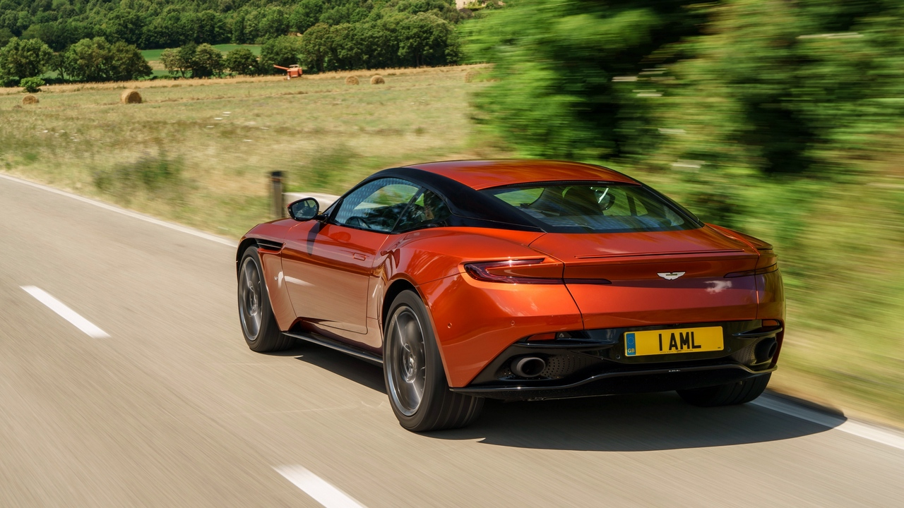 Preview wallpaper aston martin, db11, red, side view