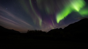 Preview wallpaper aurora, mountain, night, northern lights, starry sky, stars