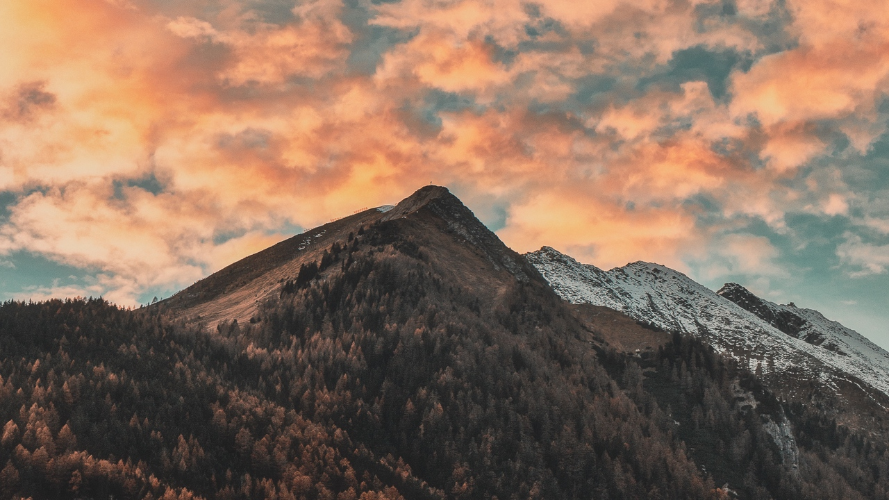 Preview wallpaper autumn, clouds, italy, mountains, sky, trees, zillertal alps