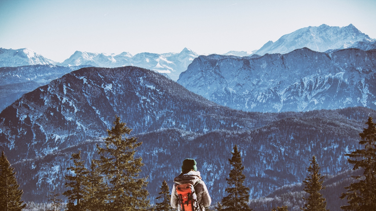 Preview wallpaper backpack, freedom, mountains, tourist