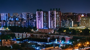 Preview wallpaper beijing, buildings, china, city lights, night city