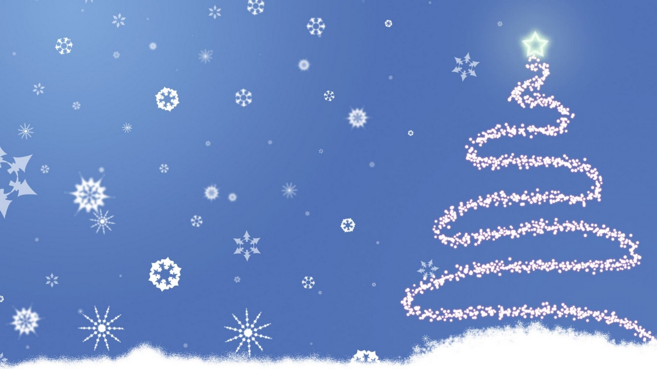 Preview wallpaper blue, christmas, fur-tree, new year, silhouette