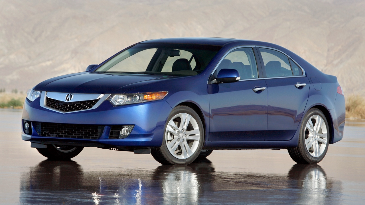 Preview wallpaper 2009, acura, blue, cars, mountains, reflection, side view, style, tsx, v6, wet asphalt