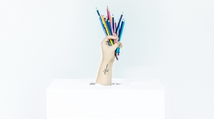 Preview wallpaper box, colored pencils, hand, minimalism