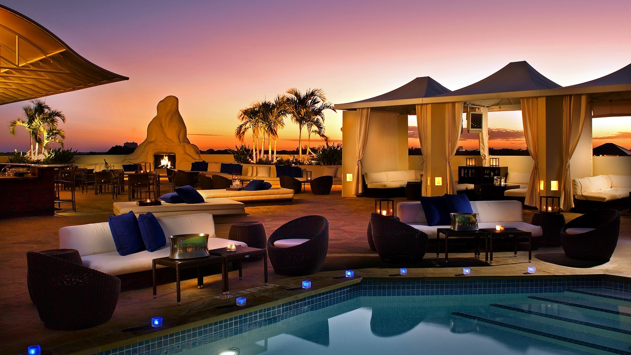 Preview wallpaper cafes, candles, evening, fire, furniture, outdoor furniture, palm trees, recreation, swimming pool, tables