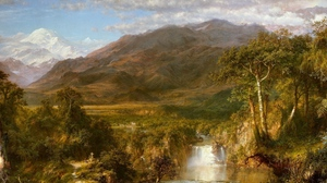 Preview wallpaper art, canvas, falls, greatness, mountains, oil, painting