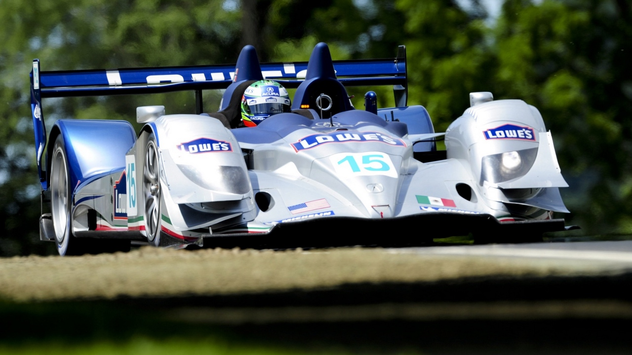 Preview wallpaper acura, arx-01, blue, bolide, car, front view, sports, track, traffic, trees, white
