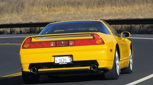 Preview wallpaper acura, car, nature, nsx, rear view, road, sports, style, yellow