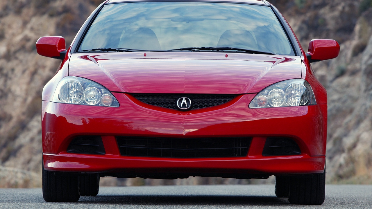 Preview wallpaper acura, asphalt, cars, front view, nature, red, rsx, style