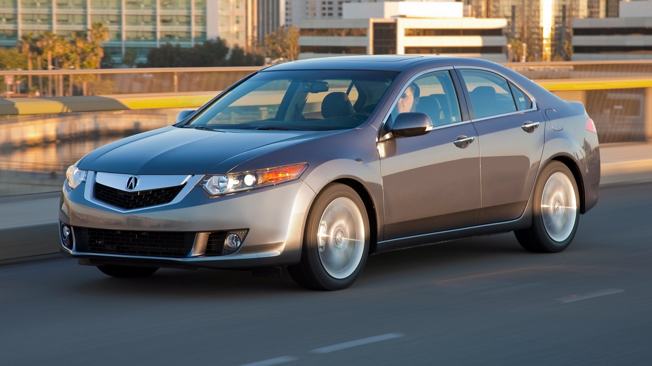 Preview wallpaper acura, asphalt, cars, city, gray, side view, speed, style, tsx, v6