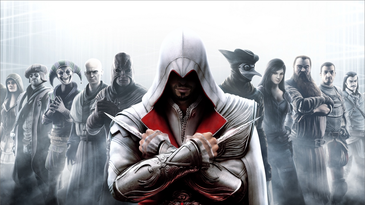 Preview wallpaper assassins creed, characters, faces, look, warrior