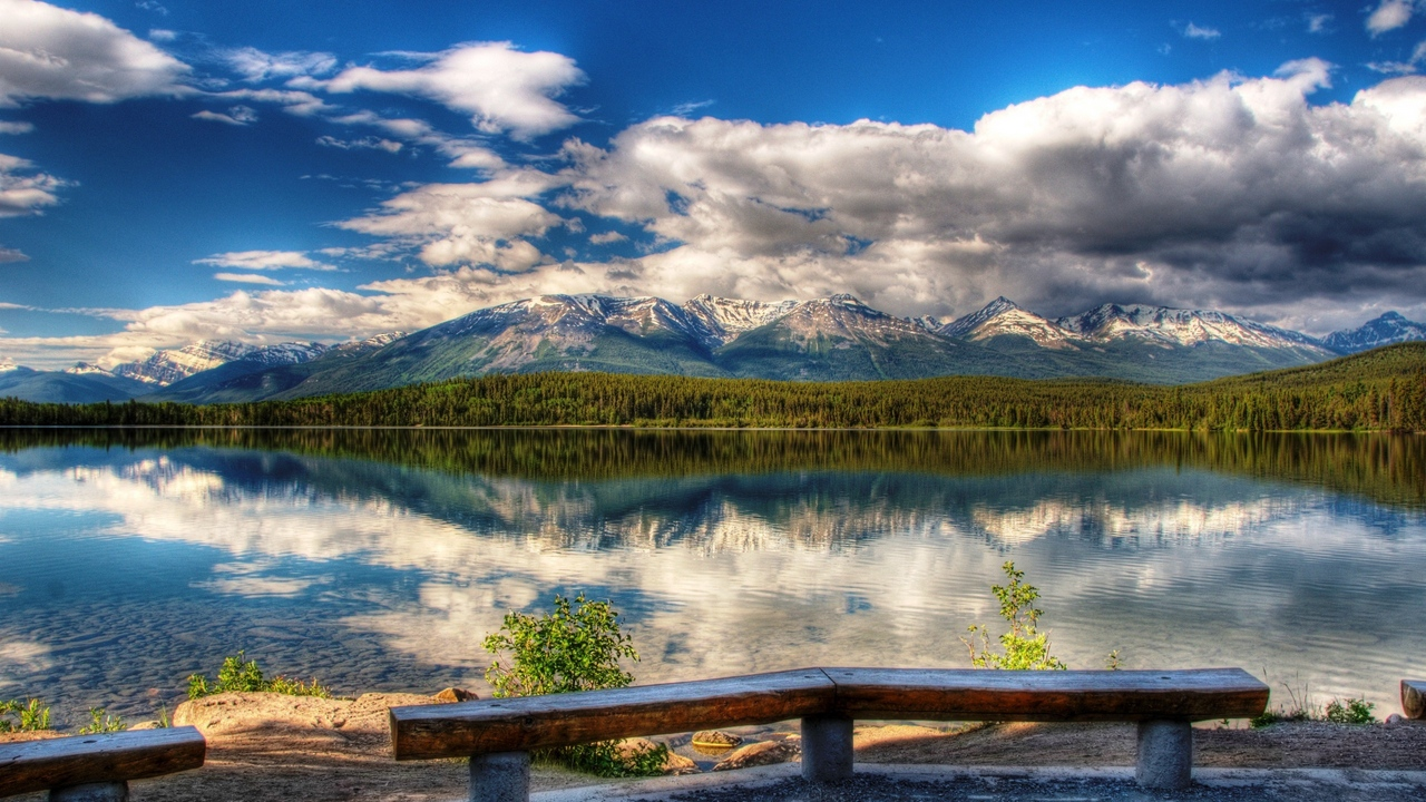 Preview wallpaper benches, clearly, clouds, coast, day, lake, landscape, mountains, picturesque, reflection, sky