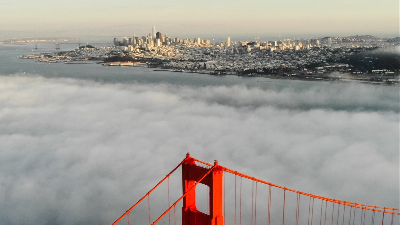 Preview wallpaper aerial view, bridge, city, clouds, height