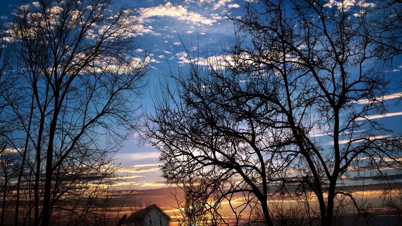 Preview wallpaper branches, clouds, dusk, evening, house, sky, slope, sunset, trees
