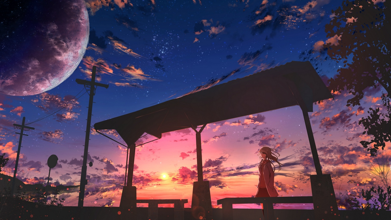 Preview wallpaper anime, clouds, girl, twilight