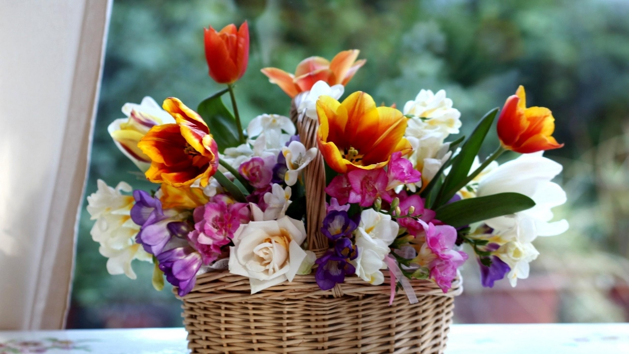 Preview wallpaper basket, color, combination, composition, freesia, roses, tulips