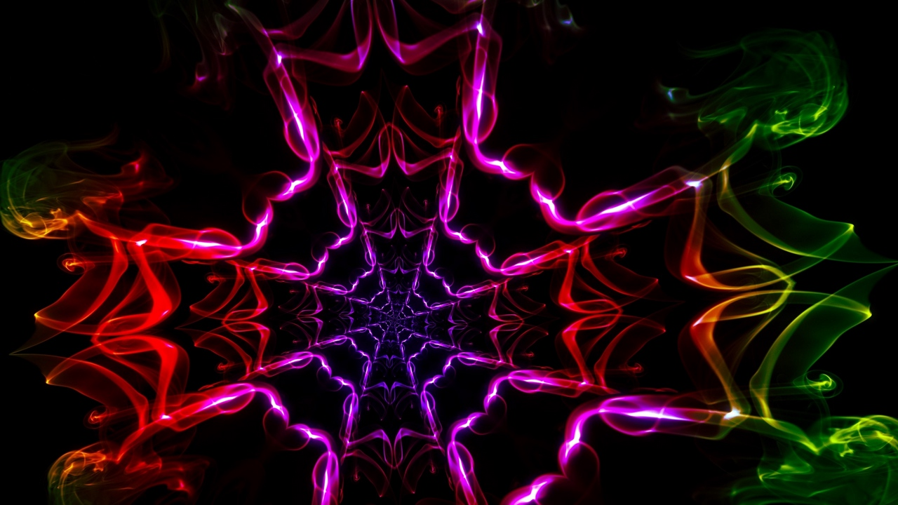 Preview wallpaper colorful, dark background, kaleidoscope, light, shapes