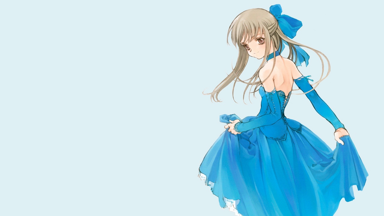 Preview wallpaper blue, bow, corset, dress, girl, gloves, spin