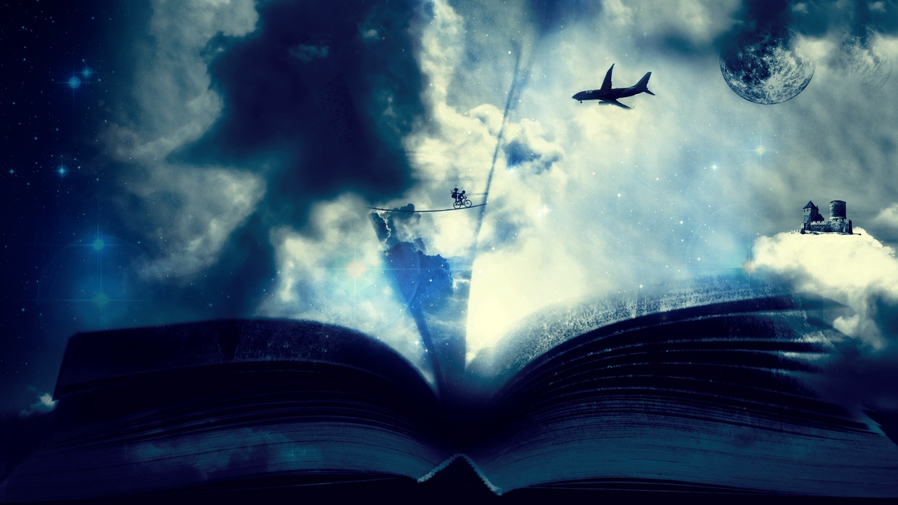 fantasy airplane clouds bicycle book
