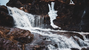 Preview wallpaper fast, mountain, stone, stormy, stream, waterfall