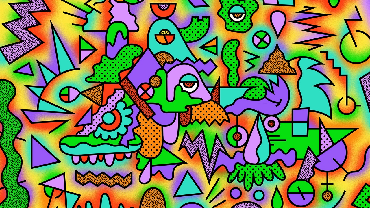 Preview wallpaper acid, colorful, drawing, figurines