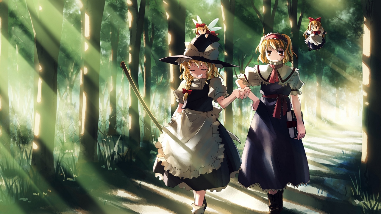 Preview wallpaper forest, girl, walking
