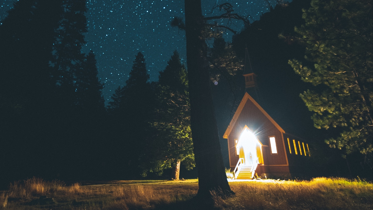 Preview wallpaper forest, house, night, starry sky