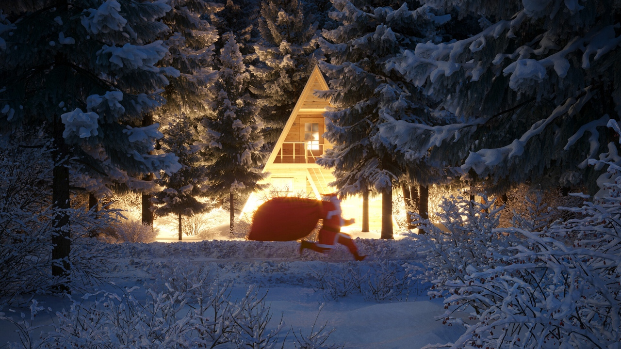 Preview wallpaper christmas, forest, house, new year, santa claus, snow
