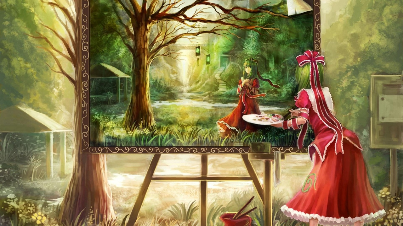 forest red painting dress girl