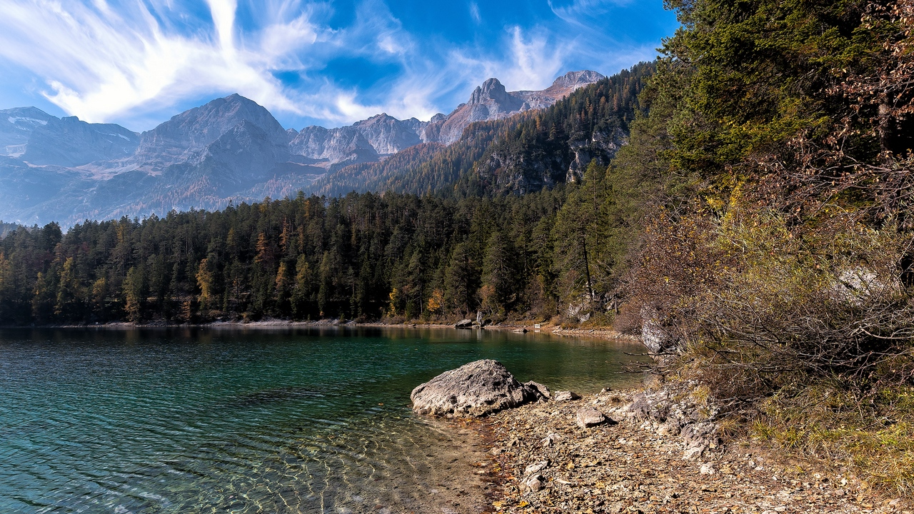 Preview wallpaper forest, lake, mountains, shore, stones