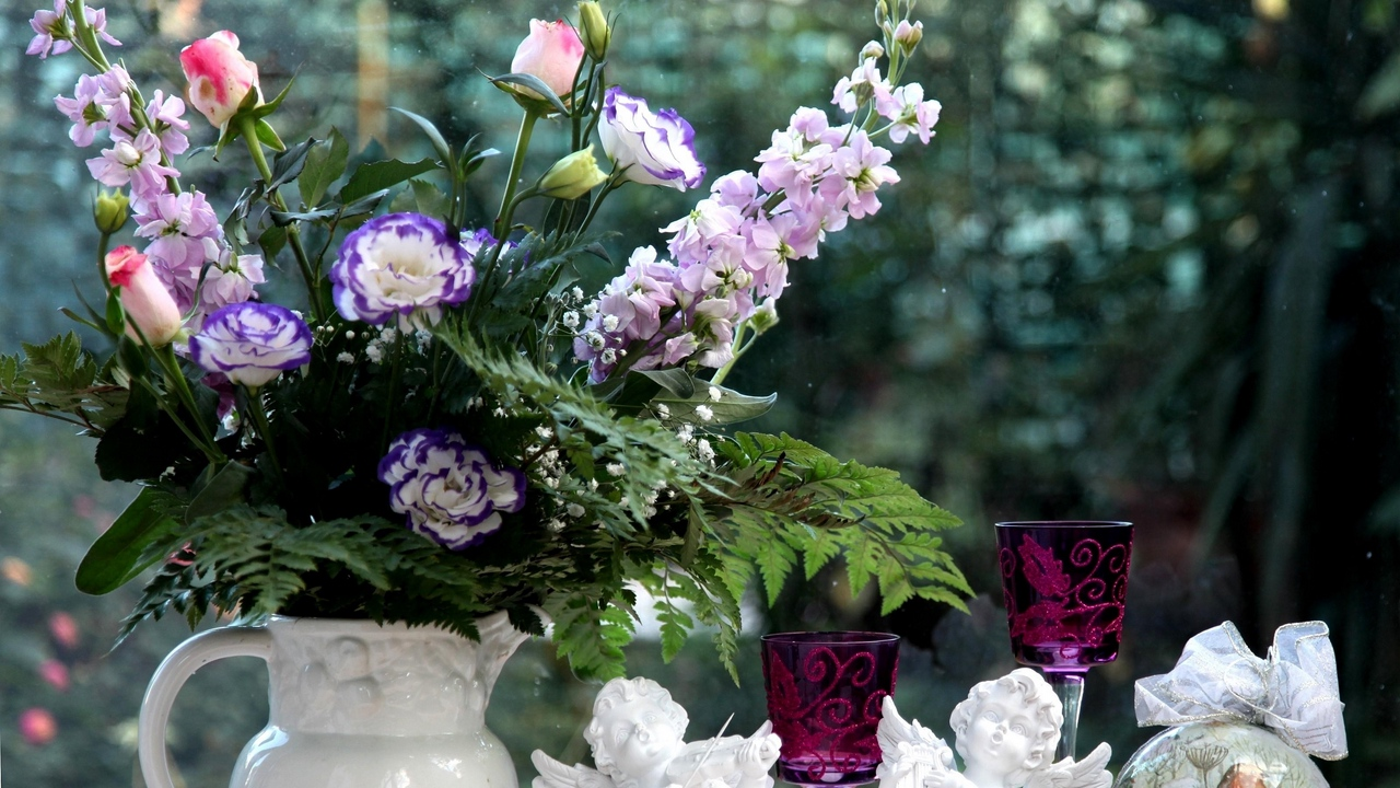 Preview wallpaper angels, bouquets, cups, flowers, gillyflower, glasses, lisianthus russell, pitcher