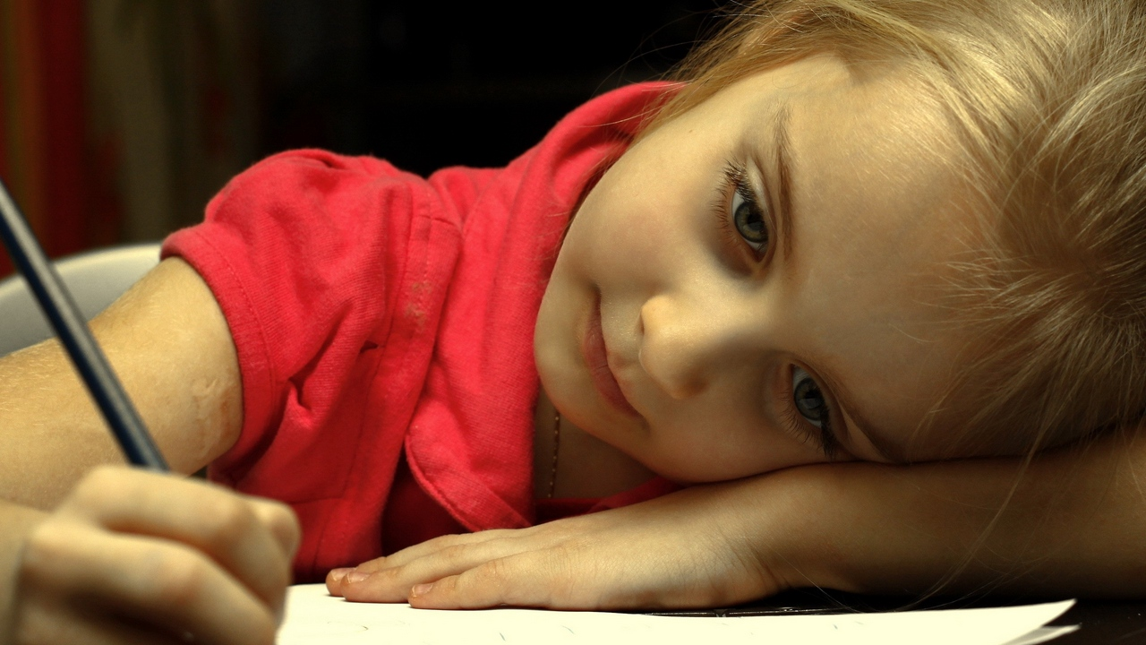 Preview wallpaper child, girl, painting, paper, sadness