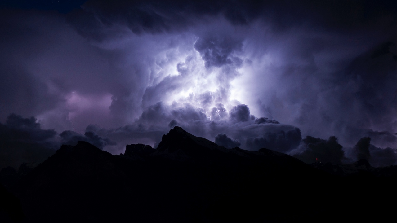 Preview wallpaper clouds, cloudy, dark, gloomy, lightning, night