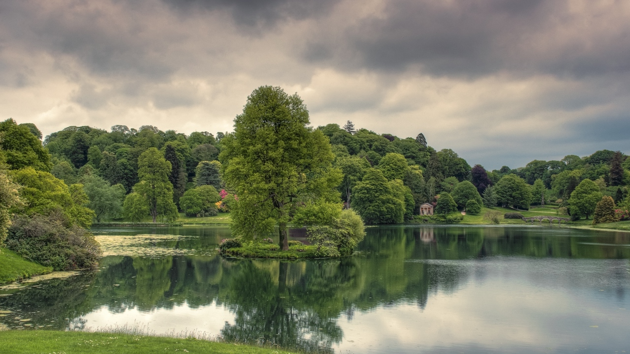 Preview wallpaper cloudy, grass, lake, reflection, trees