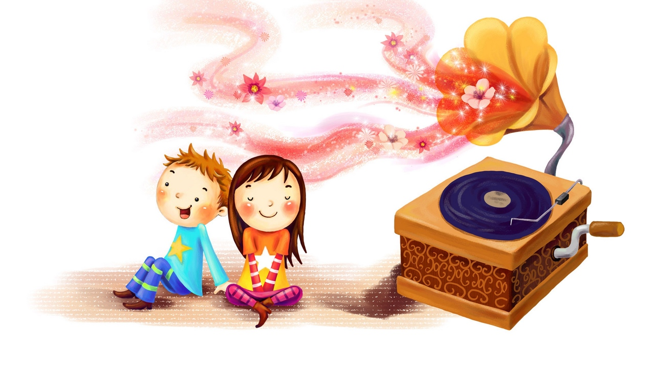 Preview wallpaper boy, children, drawing, girl, glow, gramophone, happiness, record, swirl, together
