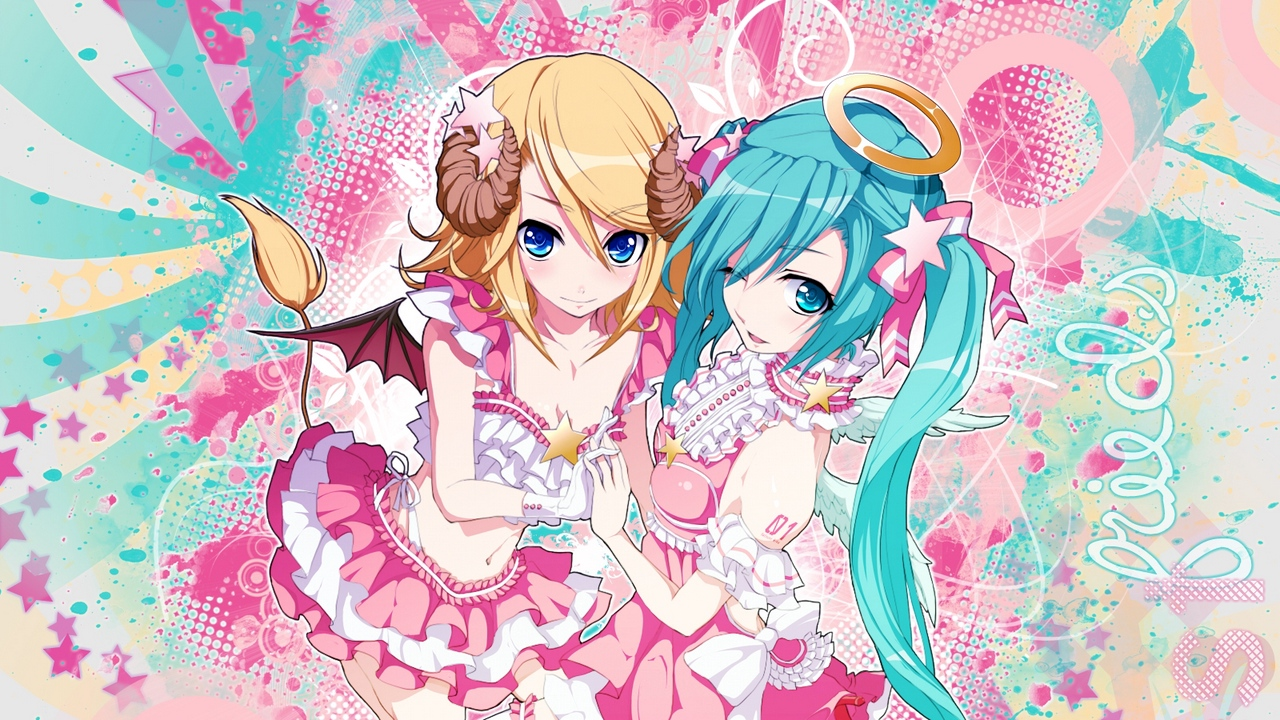 Preview wallpaper blonde hair, blue eyes, dress, gloves, hatsune miku, kagamine rin, skirt, two girls, two tails, wings