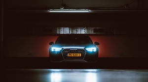 Preview wallpaper audi, front view, headlights, light
