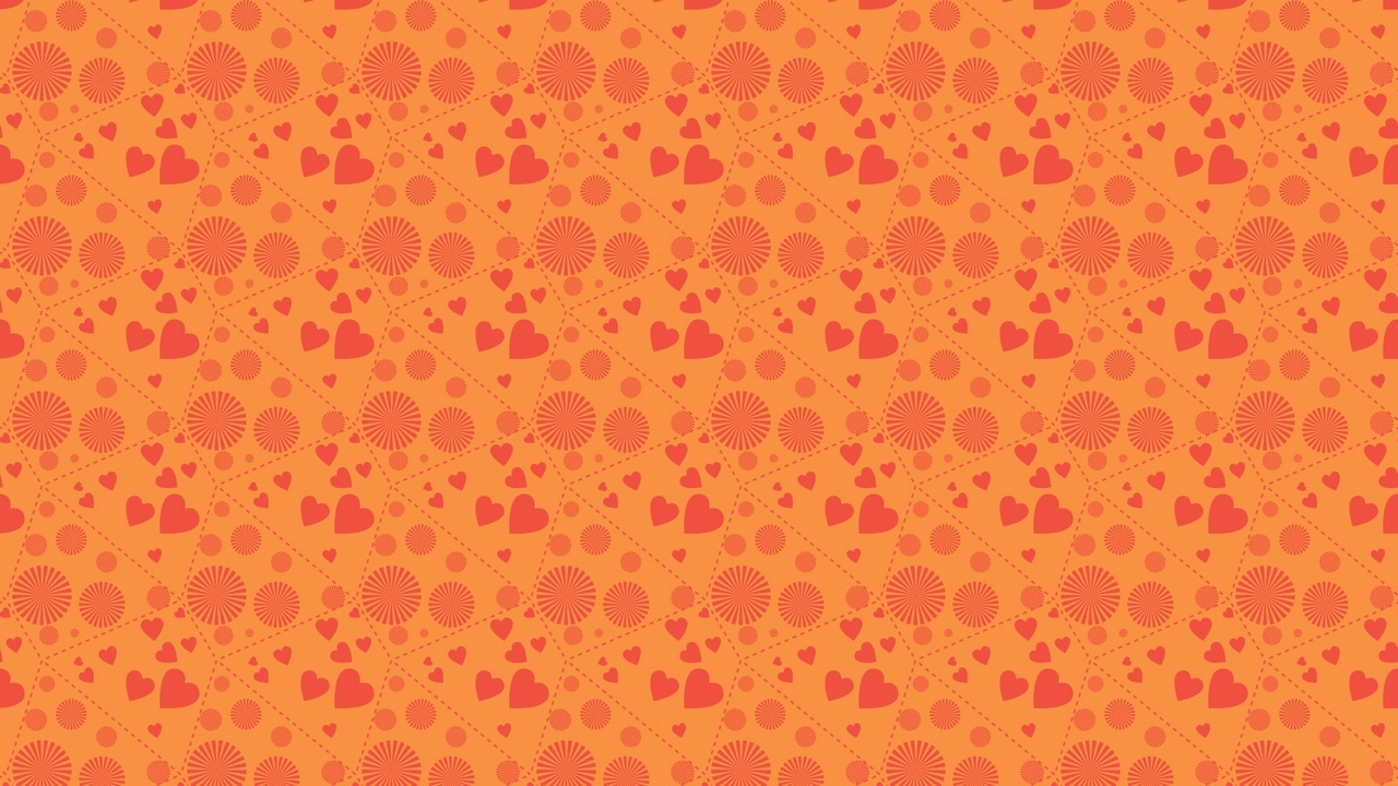 Preview wallpaper background, circles, hearts, orange