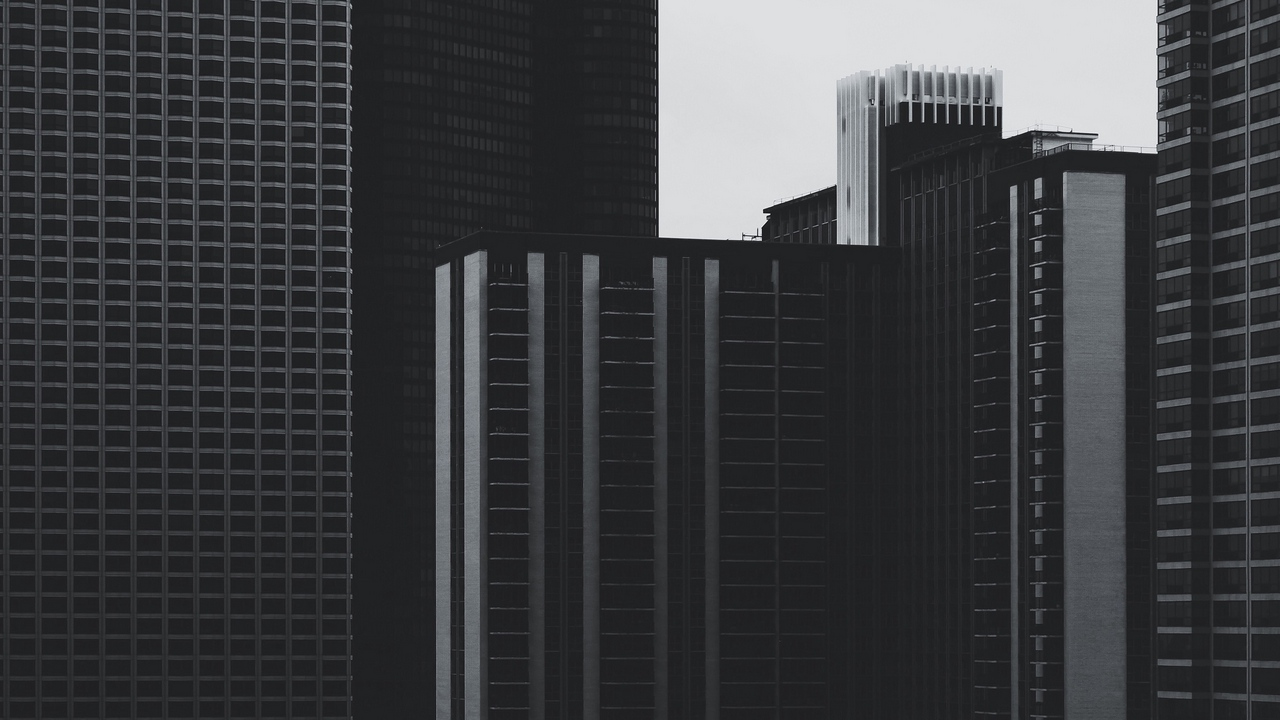 Preview wallpaper buildings, bw, high-rise, skyscrapers