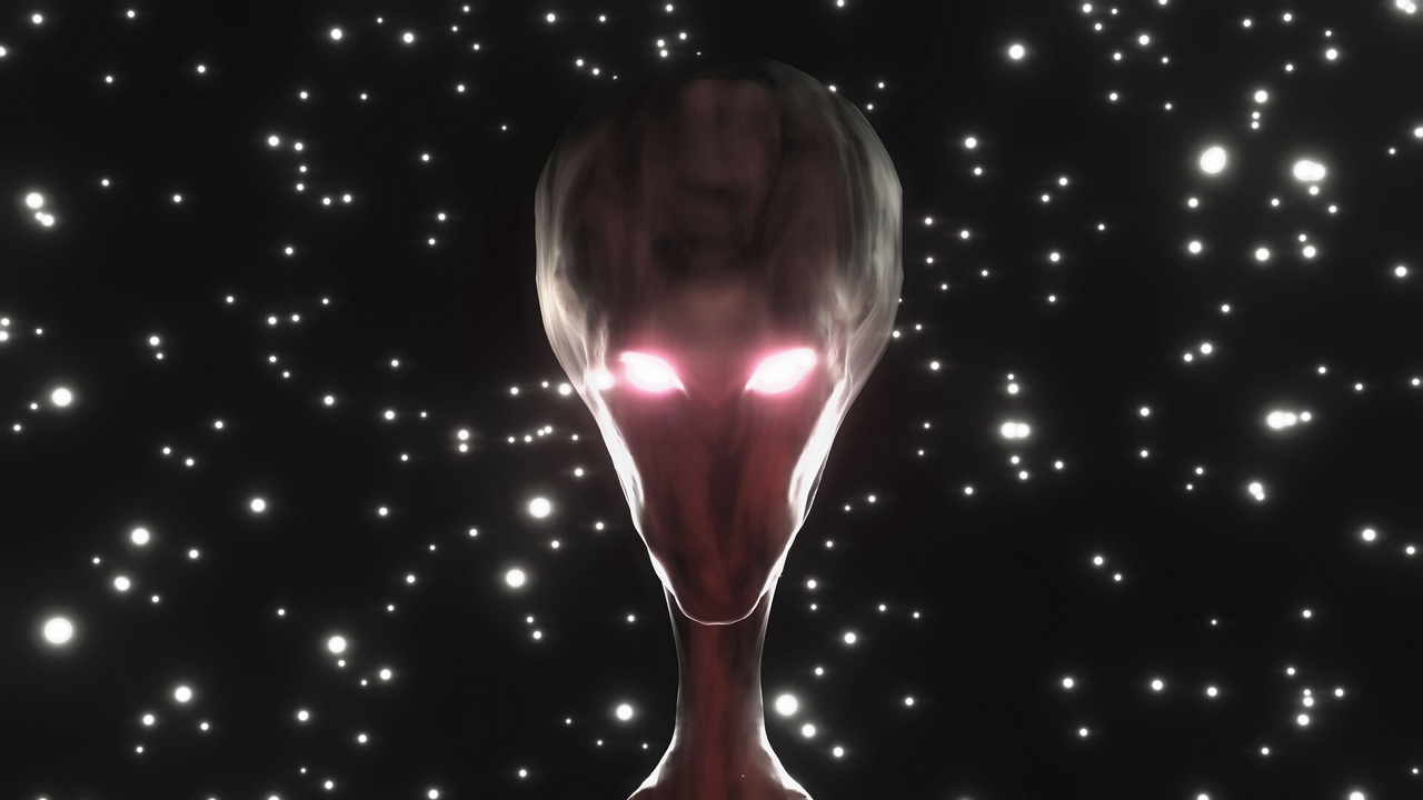 Preview wallpaper alien, face, glow, humanoid, stars