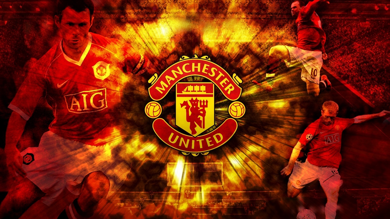 Preview wallpaper background, club, football, inscription, manchester united, players, symbol