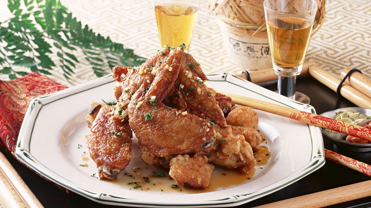 Preview wallpaper chicken wings, japanese cuisine, laying, meat, sticks