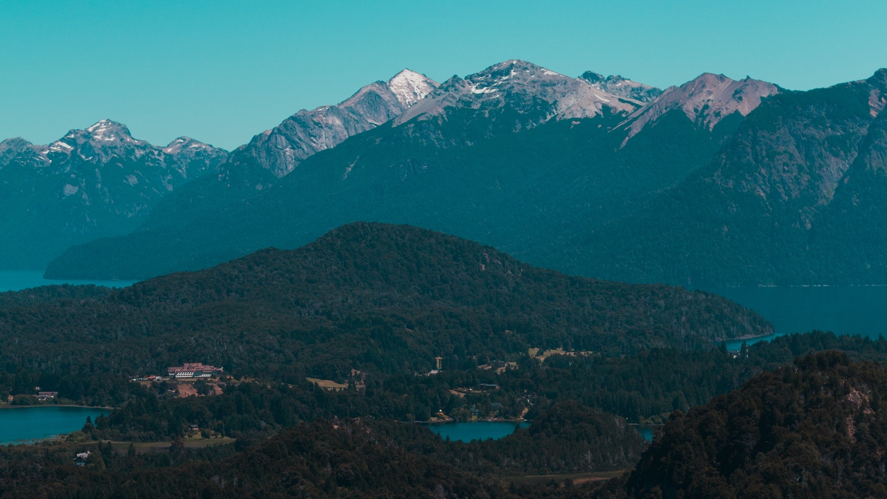 Preview wallpaper aerial view, forest, lake, mountains, trees