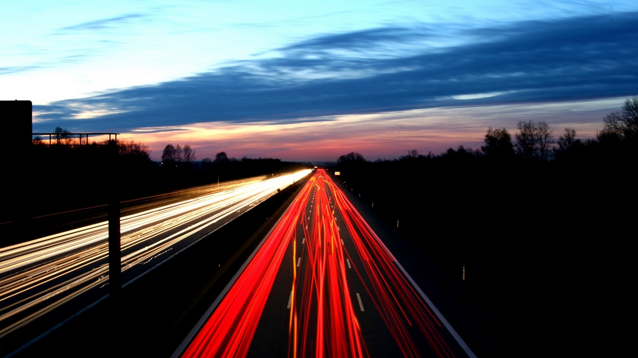 Preview wallpaper light, motion, night, road, sky