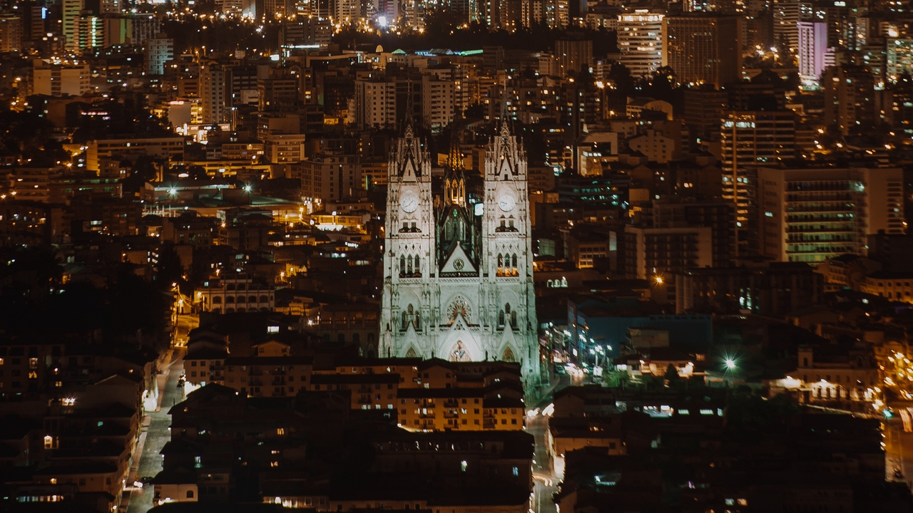 Preview wallpaper aerial view, architecture, buildings, cityscape, lights, night city