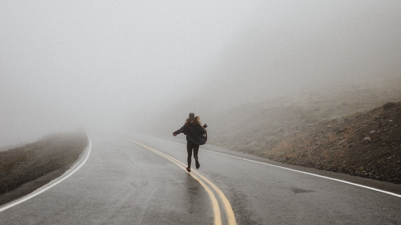 Preview wallpaper fog, loneliness, lonely, road, run, silhouette